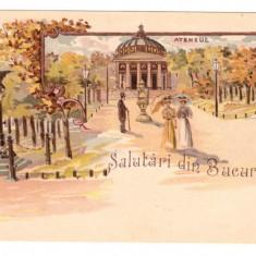 CARTI POSTALE VECHI ROMANIA-LITHO-SALUTARI DIN BUCURESTI-1900 - Carte Postala Muntenia pana la 1904, Circulata, Printata