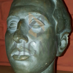 SCULPTURA, G. ANGHEL, SEMNAT OLOGRAF DE ARTIST PE GAT G. ANGHEL 1948 - PORTRET BAIAT - G. ANGHEL