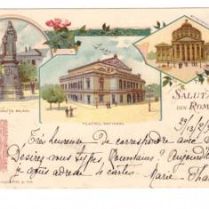 CARTI POSTALE VECHI ROMANIA-LITHO-SALUTARI DIN ROMANIA-1904-ORIGINALA - Carte Postala Muntenia pana la 1904, Circulata, Printata