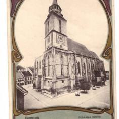 CARTI POSTALE VECHI ROMANIA-LITHO-BRASOV BISERICA NEAGRA - Carte Postala Transilvania pana la 1904, Circulata, Printata