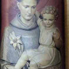 Sfantul Anton de Padova pe stampa matase in splendid Triptic din lemn Cires