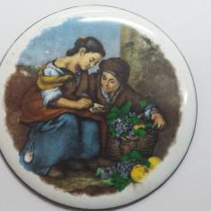 Splendida si Veche Brosa Portelan pictata manual Scena superba Vintage de Efect