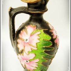 ULCIOR ROMÂNESC PENTRU APĂ, FĂCUT DIN CERAMICĂ PICTATĂ MANUAL CU FLORI, VECHI! - Arta Ceramica