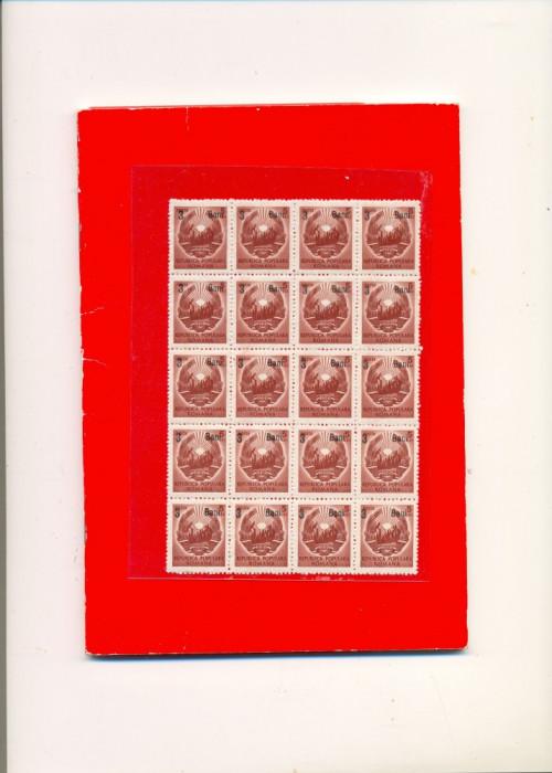 RO-0021=ROMANIA 1952,STEMA supratipar,Bloc de 20 timbre 3 bani pe 5 lei,MNH