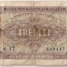 ROMANIA 3 LEI 1952 U - Bancnota romaneasca