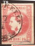 Cumpara ieftin 1868 CAROL I CU FAVORITI 18 bani T8 , stampila T. MAGURELLE, Regi, Stampilat