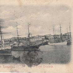 SALUTARI DIN ROMANIA, PORTUL CONSTANTA, CLASICA, CIRCULATA 1900 - Carte Postala Dobrogea pana la 1904, Printata