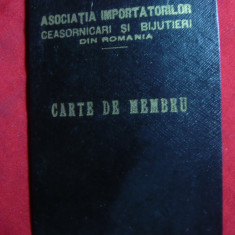 Legitimatie-Carte de Membru-Asociatia Importatori Ceasornicari Romania anii'40 - Diploma/Certificat
