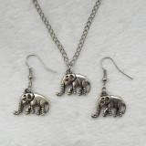 Superb set lant, pandantiv si cercei cu elefant - argint tibetan - Set bijuterii argint