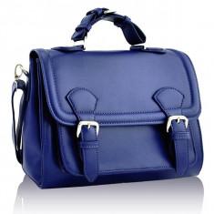 Geanta dama albastra tip postas / Geanta albastra cu banduliera  - geanta umar, Geanta stil postas, Albastru, Asemanator piele
