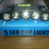 Lanterna pentru sapca cu 5 leduri - 10 lei