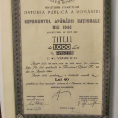 GE - Titlu 1000 lei Imprumutul Apararii Nationale 1944, Romania 1900 - 1950