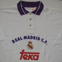 Tricou bumbac 100% (polo) fotbal - REAL MADRID (marime XL -sponsor oficial TEKA) - Tricou echipa fotbal, Culoare: Alb, De club, Maneca scurta
