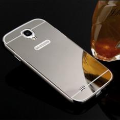 Bumper aluminiu+spate oglindat Samsung Galaxy s4 culoare GREY, negru - Bumper Telefon, Gri