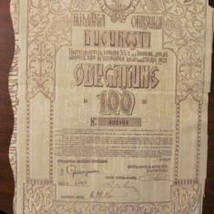 GE - Obligatiune 100 lei Primaria Orasului Bucuresti 1921, Romania 1900 - 1950