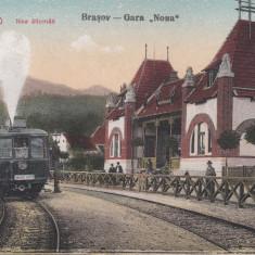 BRASOV, GARA ''NOUA'', TREN LOCOMOTIVA CU ABUR - Carte Postala Transilvania 1904-1918, Necirculata, Printata