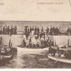 CONSTANTA, SERBARI NAUTICE IN PORT, CIRCULATA, STAMPILA DEC.'926 - Carte Postala Dobrogea dupa 1918, Printata