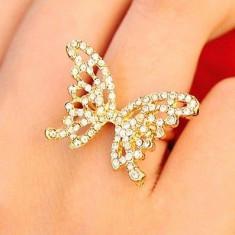 Superb inel 9K GOLD FILLED fluture cu cristale CZ. Marimea 5, 6, 7, 8 ajustabil - Inel placate cu aur