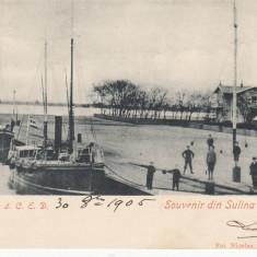 SOUVENIR DIN SULINA, PILOTINE a. C.E.D, CIRCULATA, STAMPILA AUG''05 - Carte Postala Dobrogea pana la 1904, Printata