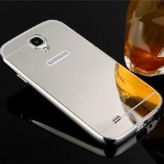 Bumper aluminiu+spate oglindat Samsung Galaxy s4 culoare SILVER - Bumper Telefon, Argintiu