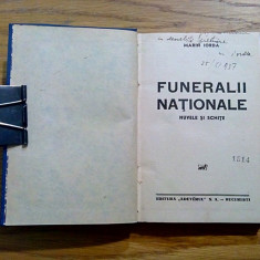 FUNERALII NATIONALE * Nuvele si Schite - Marin Iorda (autograf) - 1937, 233 p.