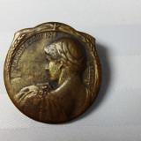 VECHE INSIGNA 1926 - ZIUA NATIONALA A ELVETIEI 1 AUGUST - BRONZ 30 MM