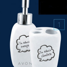 Set ceramica baie - Dispenser sapun lichid + Suport periute dinti - Avon - NOU