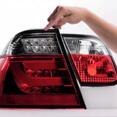 Stopuri BMW seria 3 E46 LED si fibra optica CELIS (rosu-crom) (1998 2005) - Stopuri tuning, 3 (E46) - [1998 - 2005]
