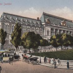 BUCURESTI - PALATUL JUSTITIEI, TRAMVAI CU CAI, TRASURI, ANIMATIE, CIRC. 1921 - Carte Postala Muntenia dupa 1918, Circulata, Printata
