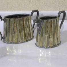 De colectie ! Superb set doua obiecte/vase vechi decor,argintate,anii'20 !, Vas
