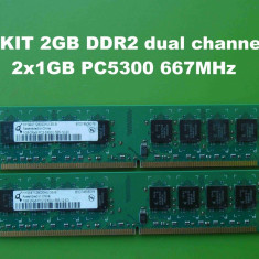 Memorie RAM PC DDR2 2GB KIT PC5300 667MHz Qimonda, Dual channel