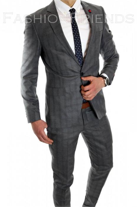 Costum tip ZARA - sacou + pantaloni - costum barbati casual office  - 6069 foto mare