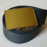 Curea panza de culoare gri inchis cu catarama metalica argintie - Curea Barbati, Marime: Marime universala, Culoare: Din imagine