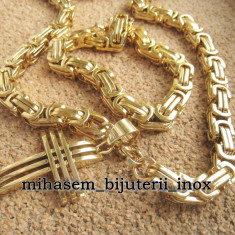 SET Lant+medalion +bratara inox placat =90 ron - Lantisor placate cu aur