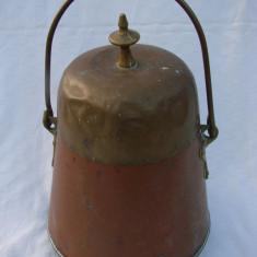 Frumos vas din cupru cu capac din alama lucrat manual - Metal/Fonta, Vase