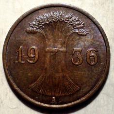 B.107 GERMANIA WEIMAR 1 REICHSPFENNIG 1936 A XF, Europa, Bronz