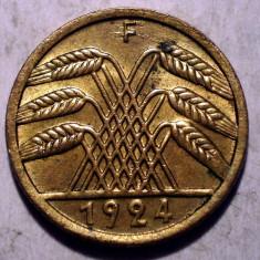 D.073 GERMANIA WEIMAR 5 REICHSPFENNIG 1924 F XF, Europa, Bronz-Aluminiu