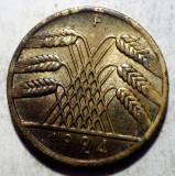 D.074 GERMANIA WEIMAR 10 REICHSPFENNIG 1924 F, Europa, Bronz-Aluminiu