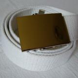Curea panza de culoare alba cu catarama metalica argintie - Curea Barbati, Marime: Marime universala, Culoare: Din imagine