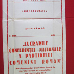 Afis cinema de propaganda PCR - Lucrarile Conf. Nationale a PCR 1972