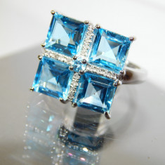 Inel aur alb 14k SWISS BLUE TOPAZ 4.81 ct. si diamante, 46 - 56