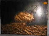 Superb tablou vechi cupru, peisaj marin in relief ! 40 x 30 cm !