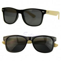 Ochelari soare model deosebit Retro Wayfarer negru brate eco bambus - Ochelari stil wayfarer, Unisex