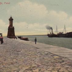 CONSTANTA, FARUL, SCRISA 1908 NECIRCULATA - Carte Postala Dobrogea 1904-1918, Printata