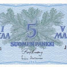 FINLANDA 5 markkaa 1963 AUNC!!!