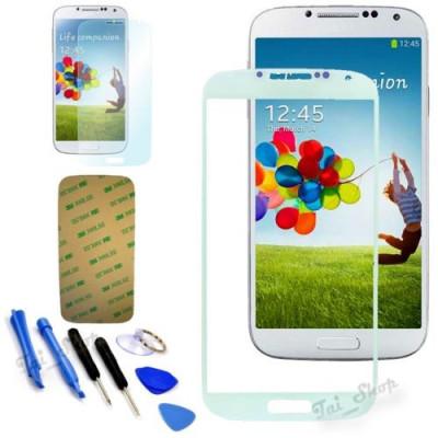 Sticla Display Fata Samsung Galaxy S4 i9500 ALB + folie adeziva si scule foto