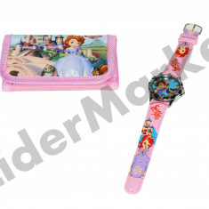 Set ceas de mana si portofel Sofia - Ceas copii Disney
