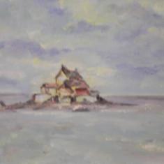 Superb tablou-acuarela, peisaj marin ,tonuri calde ! 32 x 23 cm !, Marine, Realism