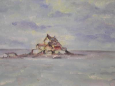 Superb tablou-acuarela, peisaj marin ,tonuri calde ! 32 x 23 cm ! foto