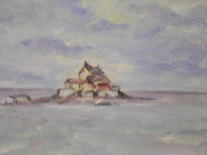 Superb tablou-acuarela, peisaj marin ,tonuri calde ! 32 x 23 cm !